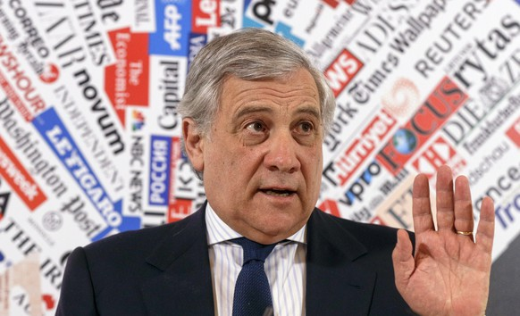European Parliament President Antonio Tajani speaks during a news conference at the foreign press association in Rome, Monday Feb. 4, 2019. A key group of European Union countries has endorsed Venezuelan opposition leader Juan Guaido as the country's interim president, piling the pressure on embattled President Nicolas Maduro to resign and let the country hold a new presidential election. (AP Photo/Gregorio Borgia)