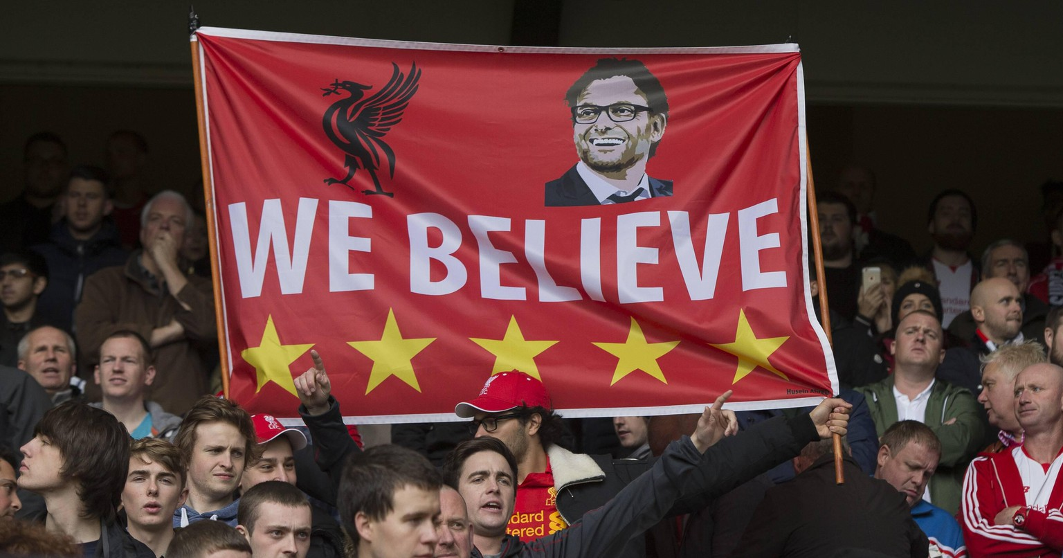 17.10.2015. White Hart Lane, London, England. Barclays Premier League. Tottenham Hotspur versus Liverpool. The Liverpool fans with a banner reading We Believe and a picture of their new manager J