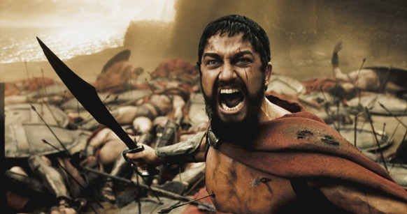 "A wounded Leonidas (GERARD BUTLER) roars his defiance at the Persian invaders in Warner Bros. Pictures', Legendary Pictures' and Virtual Studios' action drama ""300,"" distributed by Warner Bros. Pictures.PHOTOGRAPHS TO BE USED SOLELY FOR ADVERTISING, PROMOTION, PUBLICITY OR REVIEWS OF THIS SPECIFIC MOTION PICTURE AND TO REMAIN THE PROPERTY OF THE STUDIO. NOT FOR SALE OR REDISTRIBUTION"