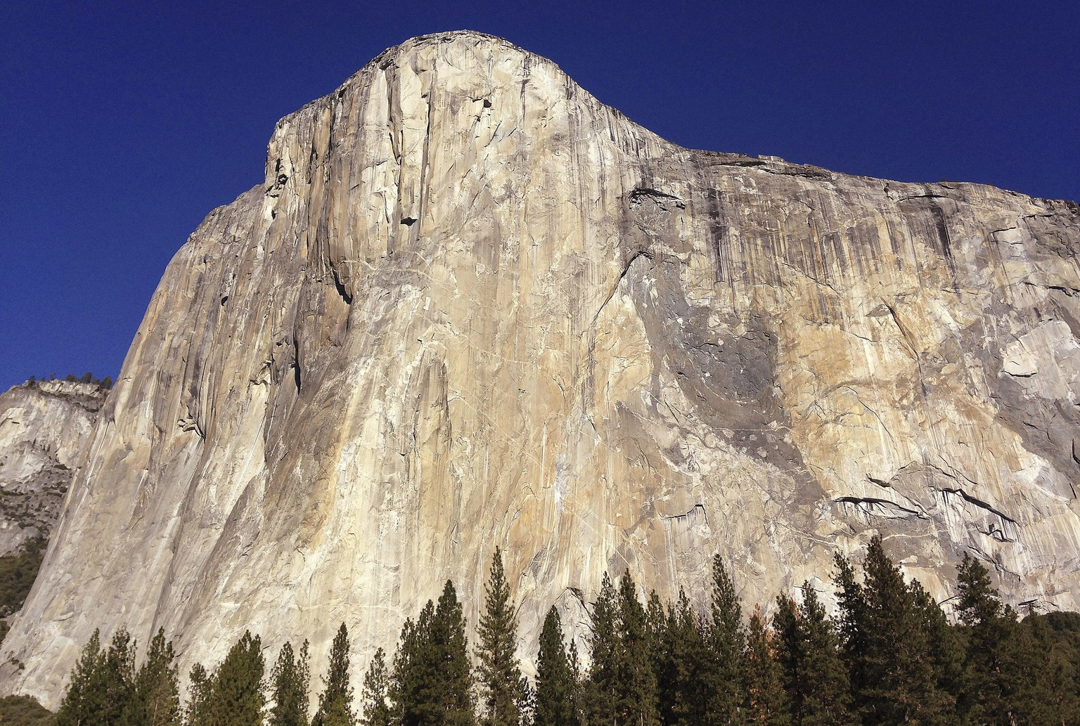 FILE - This Jan. 14, 2015, file photo, shows El Capitan in Yosemite National Park, Calif. A climber from the Czech Republic has scaled the rock wall found in record time. A spokesman for Black Diamond Equipment confirmed Tuesday, Nov. 22, 2016, that 23-year-old Adam Ondra completed a half-mile free-climb up the Dawn Wall on the famous El Capitan. (AP Photo/Ben Margot, File)