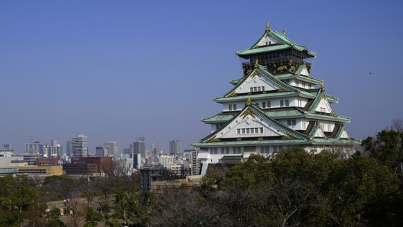 IMAGE DISTRIBUTED FOR KANSAI PROMOTION COUNCIL FOR THE 2019 G20 OSAKA SUMMIT - In this image released on Friday, May 31, 2019, the main tower of Osaka Castle rises above the city in Osaka, Japan. (Shizuo Kambayashi/AP Images for Kansai Promotion Council for the 2019 G20 Osaka Summit)