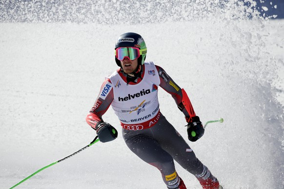 United States' Ted Ligety finishes his second run during the men's giant slalom at the alpine skiing world championships Friday, Feb. 13, 2015, in Beaver Creek, Colo. Ligety won the event. (AP Photo/Marco Trovati)
