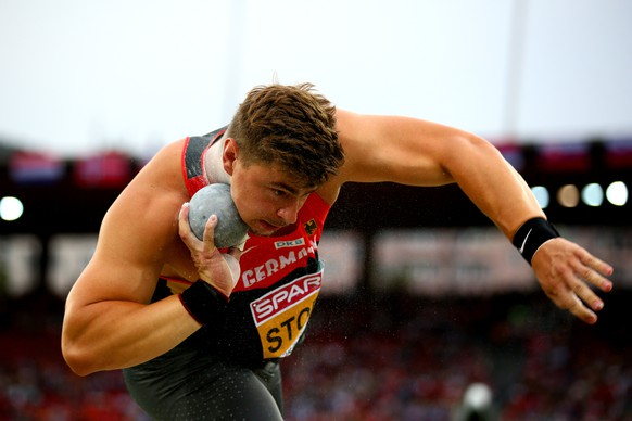 ZURICH, SWITZERLAND - AUGUST 12:  David Storl of Germany competes in the Men's Shot Put final during day one of the 22nd European Athletics Championships at Stadium Letzigrund on August 12, 2014 in Zurich, Switzerland.  (Photo by Ian Walton/Getty Images)