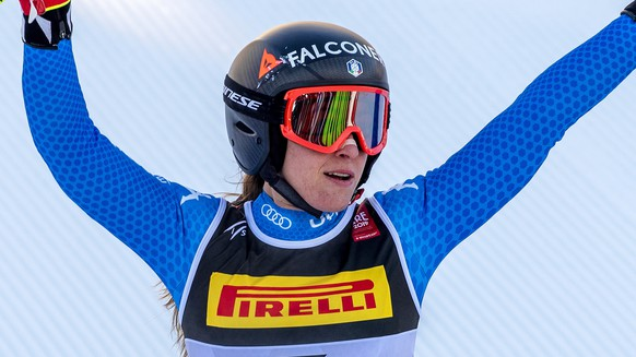 epa07345038 Sofia Goggia of Italy reacts in the finish area during the women's Super G race at the FIS Alpine Skiing World Championships in Are, Sweden, 05 February 2019.  EPA/VALDRIN XHEMAJ