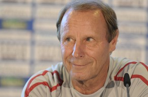 Berti Vogts, headcoach of Azerbaijan's national soccer team, smiles during a press conference in Hanover, Germany, on Monday, Sept. 7, 2009. Azerbaijan will face Germany on Wednesday, Sept. 9, 2009 in Hanover. (AP Photo/Fabian Bimmer) ** Eds note: German spelling of Hanover is Hannover **