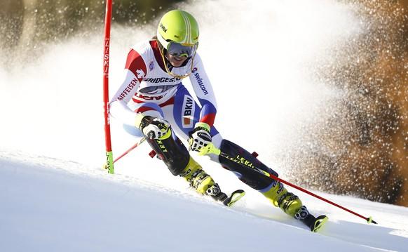 Switzerland's Chiara Gmuer competes during an alpine ski, women's World Cup slalom, in Lienz, Austria, Tuesday, Dec. 29, 2015. (AP Photo/Giovanni Auletta)