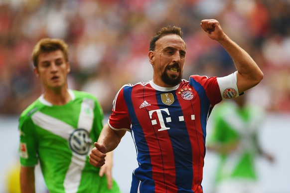 HAMBURG, GERMANY - JULY 27:  Franck Ribery of FC Bayern Muenchen reacts during the Telekom Cup 2014 final match between FC Bayern Muenchen and VfL Wolfsburg at Imtech Arena on July 27, 2014 in Hamburg, Germany.  (Photo by Dennis Grombkowski/Bongarts/Getty Images)