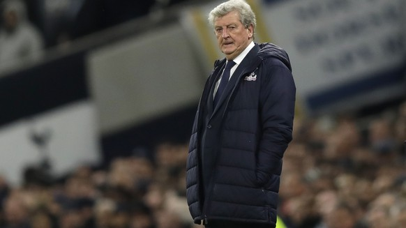 Crystal Palace manager Roy Hodgson stands by the touchline during the English Premier League soccer match betweenTottenham Hotspur and Crystal Palace, the first Premiership match at the new Tottenham Hotspur stadium in London, Wednesday, April 3, 2019. (AP Photo/Kirsty Wigglesworth)