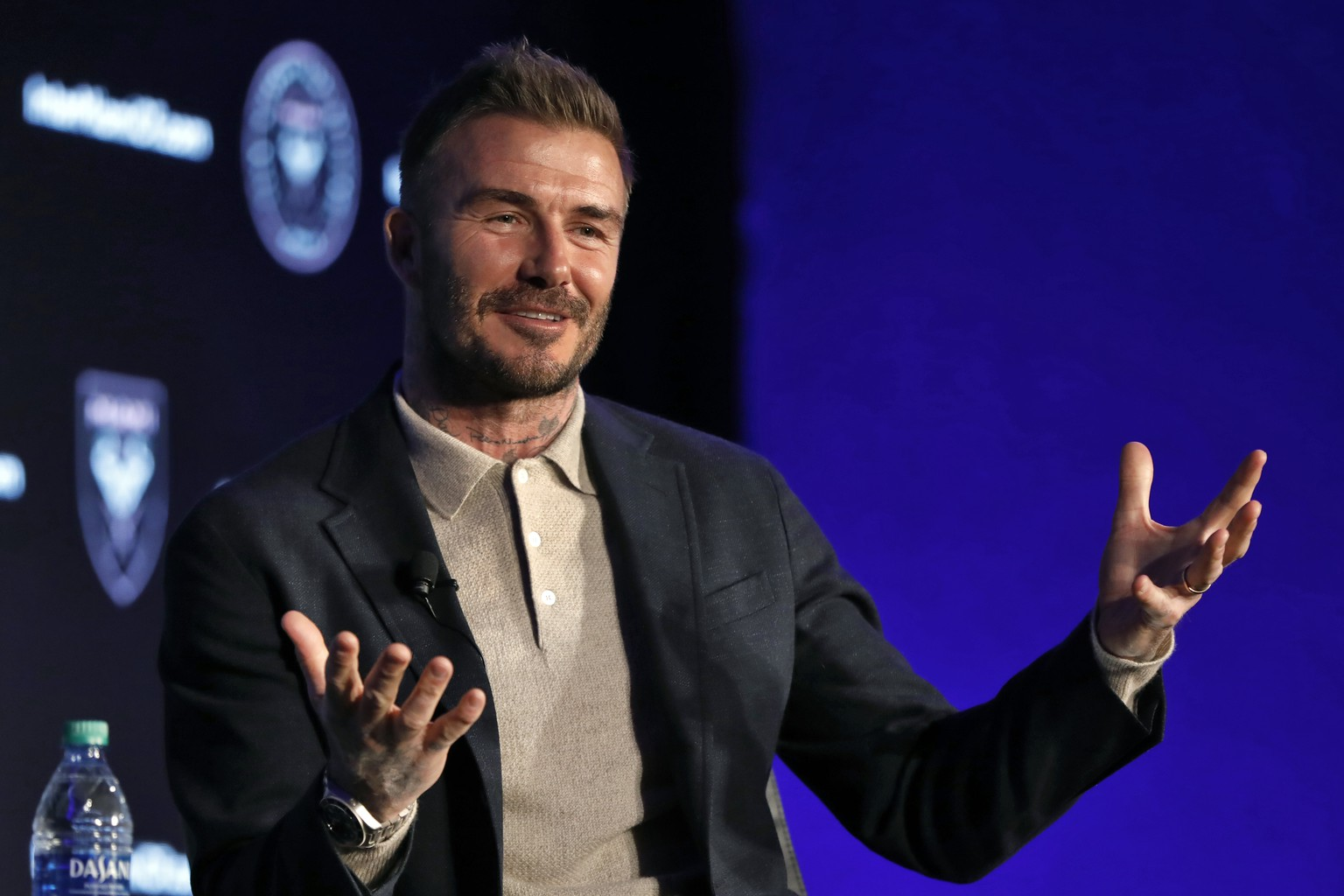 David Beckham, Inter Miami CF co-owner, is interviewed during the Major League Soccer 25th Season kickoff event in New York, Wednesday, Feb. 26, 2020. (AP Photo/Richard Drew) David Beckham