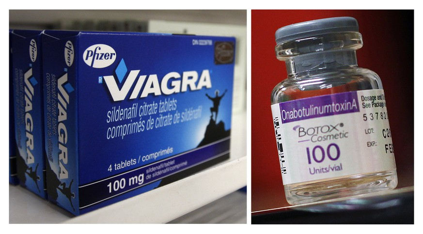 A box of Pfizer drug Viagra and a bottle of Allergan product Botox are seen in a combination of file photos. Botox maker Allergan Plc and Pfizer Inc on Thursday said they were in early, friendly talks to create the world's largest drugmaker, a deal that would potentially set up Pfizer to take advantage of Ireland's lower tax rates.  REUTERS/Mark Blinch/Shannon Stapleton/Files