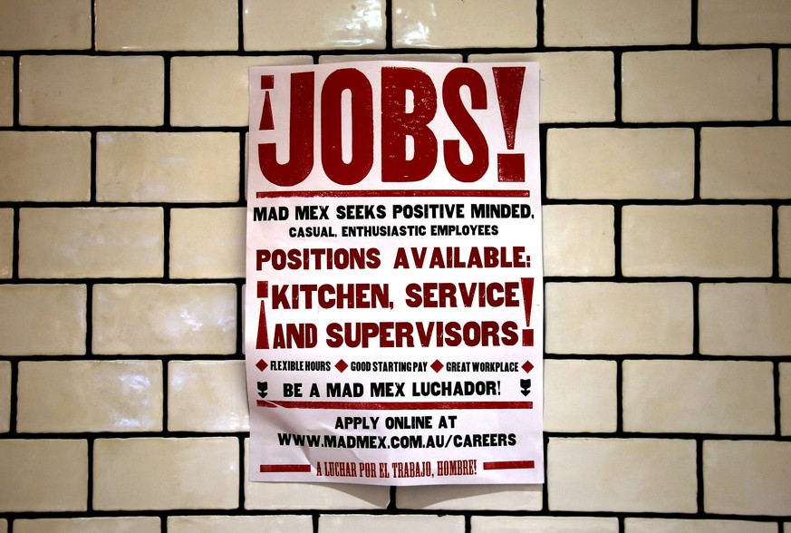 A job advert for a local fast food outlet hangs from a wall in a shopping center located in central Sydney, Australia, in this picture taken on March 18, 2016. Australia's economy was improving and its financial system sound, a top central banker said on March 22, 2016, though he called recent evidence on jobs growth more