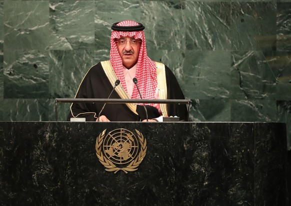 epa05550772 Prince Mohammed bin Naif bin Abdulaziz  Al-Saud, Crown Prince of the Kingdom of Saudi Arabia addresses the General Debate of the 71st Session of the United Nations General Assembly at UN headquarters in New York, New York, USA, 21 September 2016.  EPA/ANDREW GOMBERT