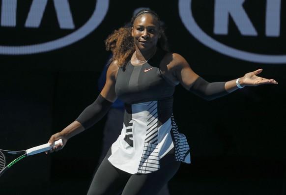 epa05737227 Serena Williams of the USA reacts against Nicole Gibbs of the USA during round three of the Women's Singles at the Australian Open Grand Slam tennis tournament in Melbourne, Victoria, Australia, 21 January 2017.  EPA/MADE NAGI