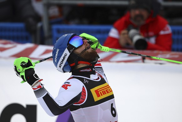 Austria's Marco Schwarz gets to the finish area after completing the men's slalom, at the alpine ski World Championships in Are, Sweden, Sunday, Feb. 17, 2019. (AP Photo/Marco Trovati)