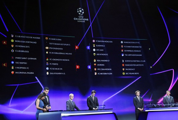 epa06984783 The group fixtures are displayed on an electronic panel during the UEFA Champions League Group Stage Draw and Awards in Monaco, 30 August 2018.  EPA/GUILLAUME HORCAJUELO