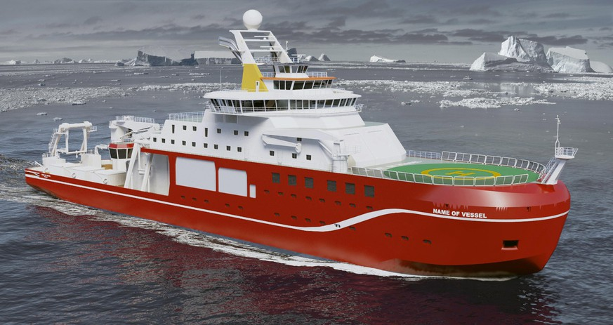 epa05224300 An undated handout computer image made available on 21 March 2016 by the British Natural Environment Research Council (NERC) showing Britain's next world class polar research ship to be built in the Cammell Laird shipyard on Merseyside, north west England. The ship which is due to set to set sail in 2019 and is backed by 200 million GBP or 255 million euros of British government funding, the polar research ship will be built at the world-famous Cammell Laird shipyard on Merseyside. Members of the the public have been asked to put forward names for the state-of-the-art vessel and will be chosen by a panel of experts.  EPA/NERC / HANDOUT  HANDOUT EDITORIAL USE ONLY/NO SALES