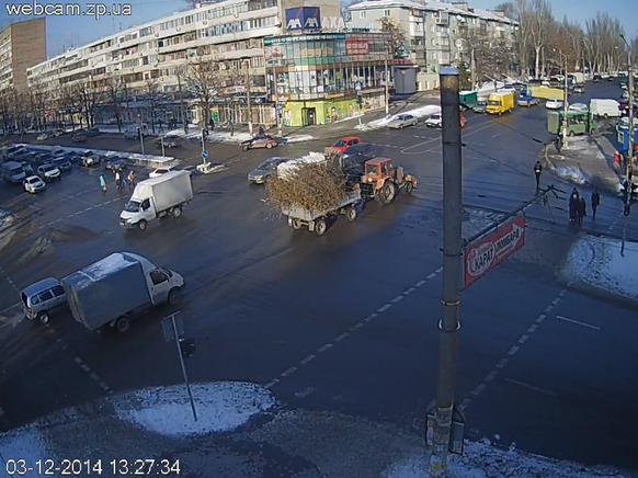 Atomunfall in der Ukraine Strassenkreuzung in Saporischschja