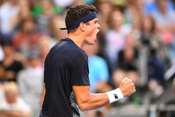 epa05737703 Milos Raonic of Canada reacts during his Men's Singles third round match against Gilles Simon of France at the Australian Open Grand Slam tennis tournament in Melbourne, Victoria, Australia, 21 January 2017.  EPA/DEAN LEWINS AUSTRALIA AND NEW ZEALAND OUT