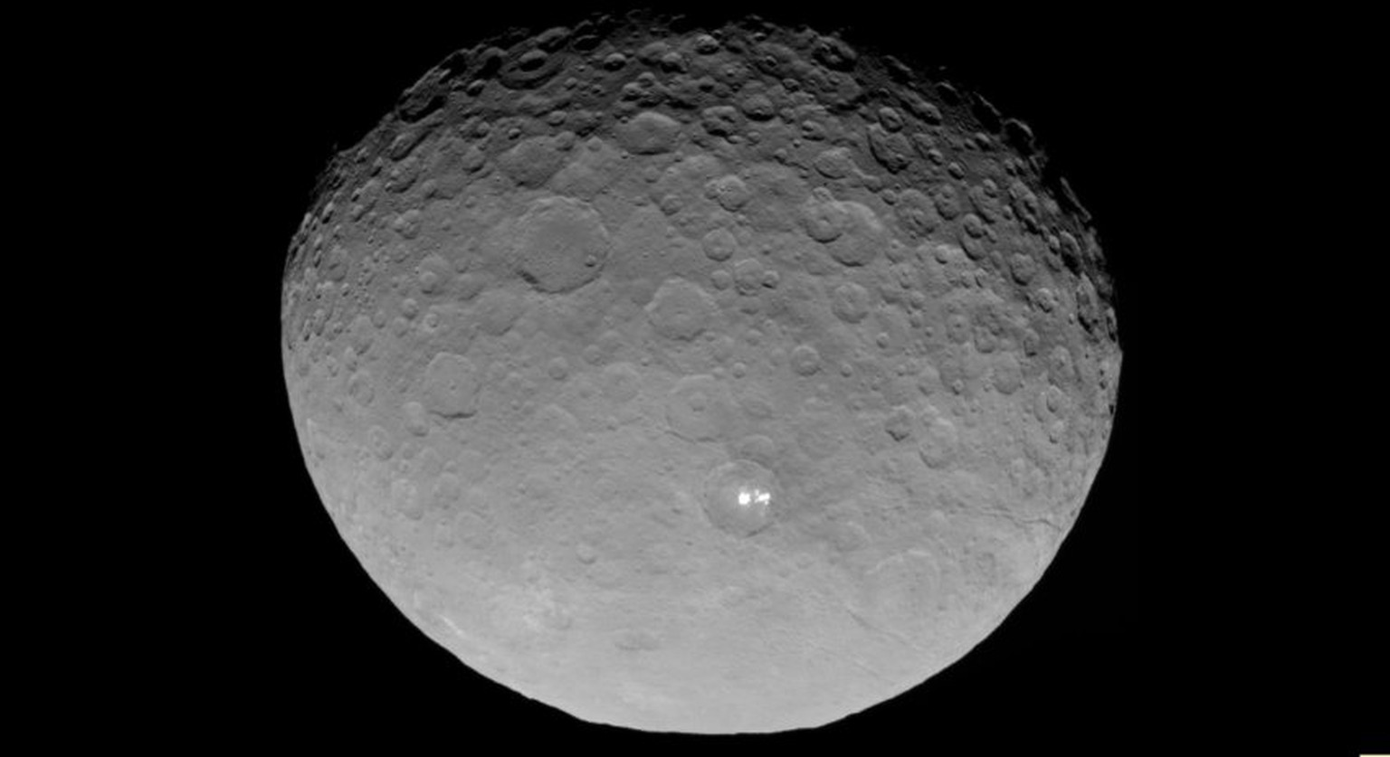 Full image and caption	  The mysterious bright spots on the dwarf planet Ceres are better resolved in a new sequence of images taken by NASA's Dawn spacecraft on May 3 and 4, 2015. The images were taken from a distance of 8,400 miles (13,600 kilometers).
