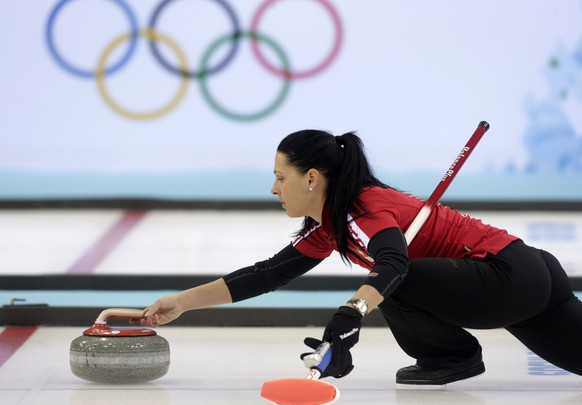 Switzerland's women's curling team third Carmen Schaefer attends a training session in the Ice Cube Curling Center in Sochi February 9, 2014. REUTERS/Ints Kalnins (RUSSIA - Tags: SPORT OLYMPICS CURLING)