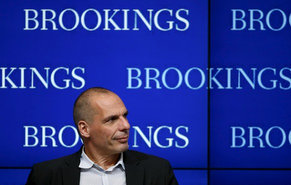 Greek Finance Minister Yanis Varoufakis speaks at the Brookings Institution in Washington April 16, 2015. Varoufakis is attending the IMF spring meetings.    REUTERS/Gary Cameron