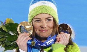 Gold medallist Slovenia's Tina Maze poses during the victory ceremony for the women's alpine skiing giant slalom event at the 2014 Sochi Winter Olympics February 19, 2014. REUTERS/Shamil Zhumatov (RUSSIA  - Tags: SPORT SKIING OLYMPICS)