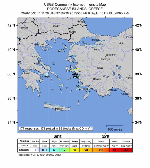 epa08785629 A handout photo made available by the US Geological Survey (USGS) shows an intensity shake map of a 7.0-magnitude earthquake that has hit near Neon Karlovasion, Greece, 30 October 2020.  EPA/USGS HANDOUT  HANDOUT EDITORIAL USE ONLY/NO SALES