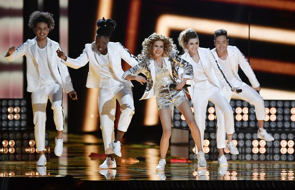 Belgium's Laura Tesoro performs the song 'What's the pressure' during a dress rehearsal for the second semifinal at the Eurovision Song Contest in Stockholm, Sweden, Wednesday, May 11, 2016. (AP Photo/Martin Meissner)