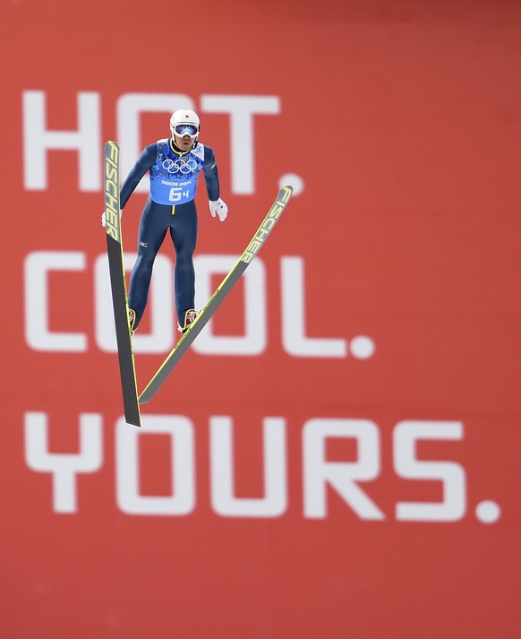 SOCHI, RUSSIA - FEBRUARY 20:  Yoshito Watabe of Japan performs a trial jump ahead of the Nordic Combined Men's Team LH during day 13 of the Sochi 2014 Winter Olympics at RusSki Gorki Jumping Center on February 20, 2014 in Sochi, Russia.  (Photo by Lars Baron/Getty Images)
