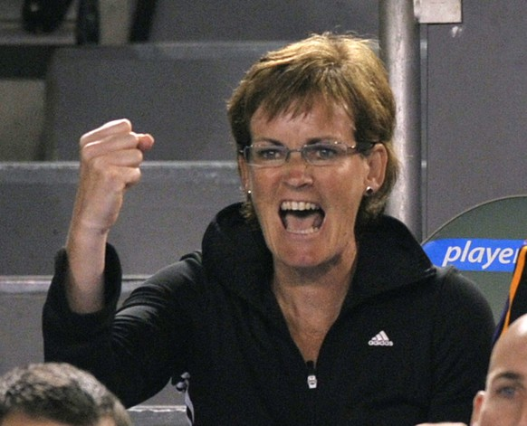 FILE - In this Jan. 28, 2010 file photo, Judy Murray, mother of Britain's Andy Murray, reacts as he plays Marin Cilic of Croatia in their men's singles semifinal match at the Australian Open tennis championship in Melbourne, Australia. Andy Murray's mother has been appointed captain of Britain's Fed Cup team. The Lawn Tennis Association said Thursday, Dec. 8, 2011, that Judy Murray will lead Britain in its Feb. 1-4 Europe-Africa Group I match against Israel in Eilat and mentor other female performance coaches. (AP Photo/Andy Wong, file)
