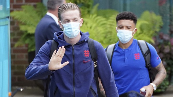 England goalkeeper Jordan Pickford with the team leave the Grove Hotel, Hertfordshire, England, and head to Wembley Stadium for the Euro 2020 soccer championship final match between England and Italy Sunday July 11, 2021. (Jonathan Brady/PA via AP)