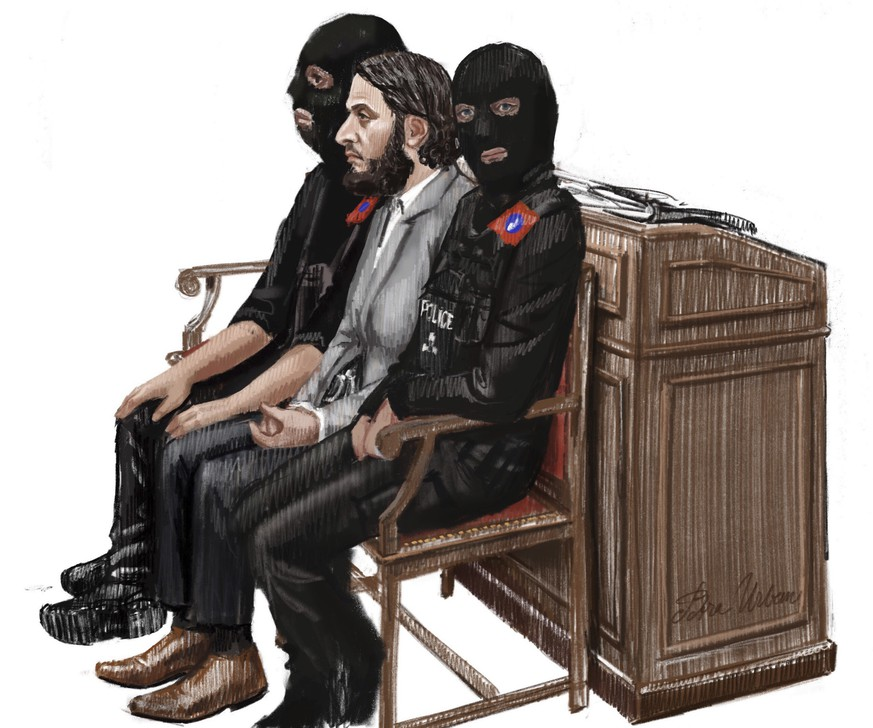 In this courtroom sketch, Salah Abdeslam, center, sits between two police officers during his trial at the Brussels Justice Palace in Brussels on Monday, Feb. 5, 2018. Salah Abdeslam and Soufiane Ayari face trial for taking part in a shooting incident in Vorst, Belgium on March 15, 2016. The incident took place when six members of a Franco-Belgian research team investigating the attacks in Paris were conducting a search in an allegedly empty safe house of the terrorists and were attacked. (Petra Urban via AP)