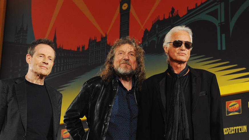epa05255114 (FILE) A file photo dated 21 September 2012 of members of British rock band Led- Zeppelin with (L-R) John Paul Jones, Robert Plant and Jimmy Page arriving for a press conference in London, Britain. Media reports on 12 April 2016 say that Led Zeppelin members will have to appear in court for trial over accusation that they might have copied the opening chords of their 1971 legendary hit 'Stairway To Heaven' from the band Spirit's instrumental title 'Taurus' dated from 1967.  EPA/ANDY RAIN *** Local Caption *** 50529737
