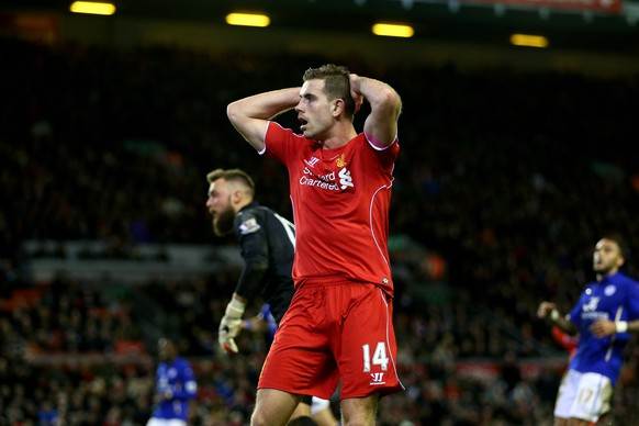 LIVERPOOL, ENGLAND - JANUARY 01:  Jordan Henderson of Liverpool reacts after a missed chance on goal during the Barclays Premier League match between Liverpool and Leicester City at Anfield on January 1, 2015 in Liverpool, England.  (Photo by Clive Brunskill/Getty Images)