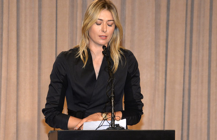 epa05199991 Russian tennis player Maria Sharapova announces that she has tested positive for a banned substance at a press conference at the LA Downtown Hotel in Los Angeles, California, USA, 07 March  2016. Sharapova said she failed a drug test at the Australian Open in January.  EPA/MIKE NELSON