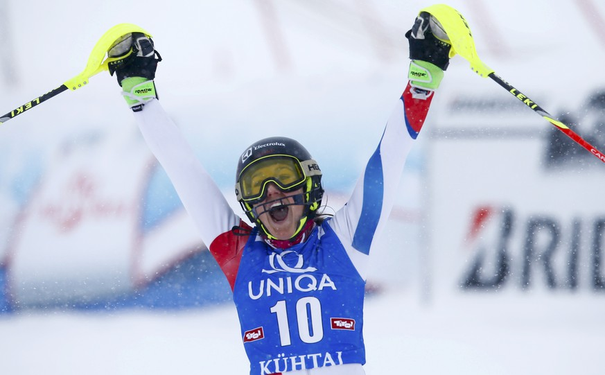 Wendy Holdener from Switzerland reacts after her second run of the World Cup Women's Slalom race in Kuehtai ski resort December 29, 2014.  REUTERS/Leonhard Foeger (AUSTRIA  - Tags: SPORT SKIING)