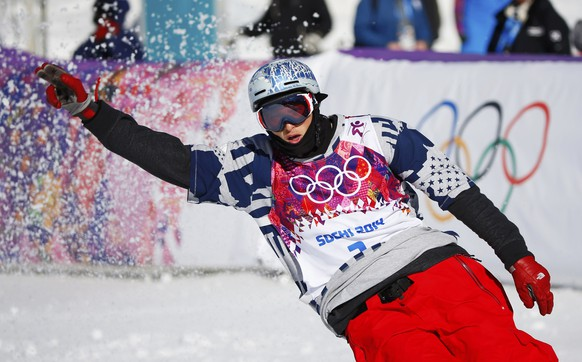 Nicholas Goepper of the U.S. reacts during the men's freestyle skiing slopestyle qualification round at the 2014 Sochi Winter Olympic Games in Rosa Khutor February 13, 2014. REUTERS/Mike Blake (RUSSIA  - Tags: SPORT OLYMPICS SPORT SKIING)