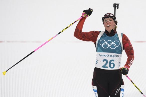 Lena Haecki of Switzerland reacts during the women Biathlon 10 km pursuit race during the XXIII Winter Olympics 2018 at the Alpensia Biathlon Center in Pyeongchang, South Korea, on Monday, February 12, 2018. (KEYSTONE/Gian Ehrenzeller)