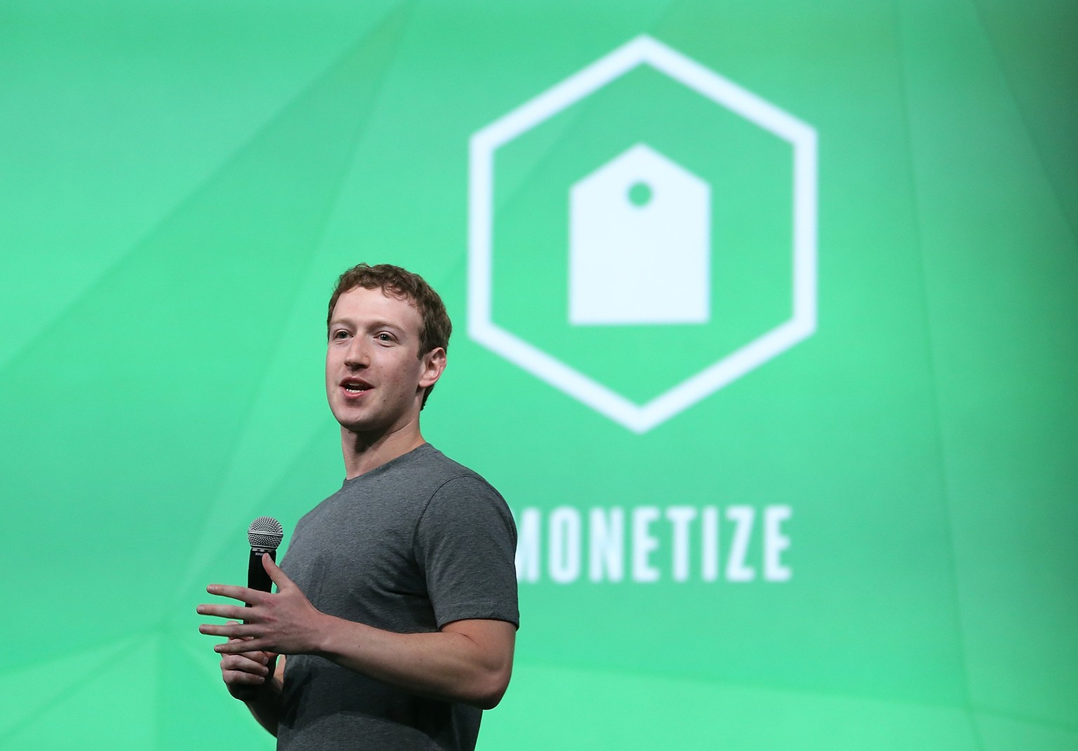 SAN FRANCISCO, CA - APRIL 30:  Facebook CEO Mark Zuckerberg delivers the opening kenote at the Facebook f8 conference on April 30, 2014 in San Francisco, California. Facebook CEO Mark Zuckerberg kicked off the annual one-day F8 developers conference.  (Photo by Justin Sullivan/Getty Images)