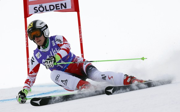 Austria's Kathrin Zettel competes during the first run of an alpine ski, women's World Cup giant slalom in Soelden, Austria, Saturday, Oct. 25, 2014. (AP Photo/Alessandro Trovati)