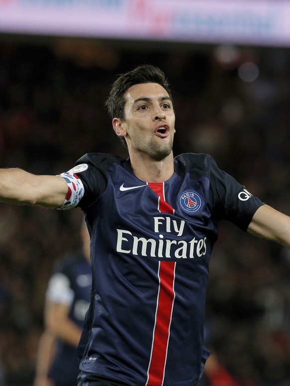 FILE- In this Tuesday, Sept. 22, 2015 file photo, PSG's Javier Pastore celebrates after scoring during the French League One soccer match between Paris Saint Germain and Guingamp, at the Parc des Princes stadium in Paris, France. Javier Pastore's return to form is a timely for Paris Saint-Germain, even more so with one of the midfielder's favorite opponents coming up.  (AP Photo/Thibault Camus, File)