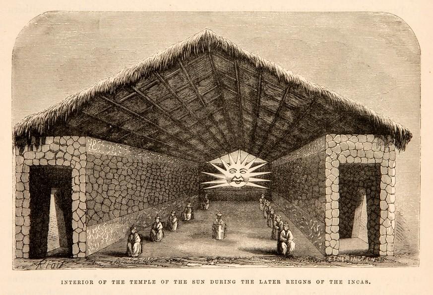 Der Sonnentempel während der späten Herrschaft der Inkas aus Paul Marcoys Reisetagebuch,1875. bild: doaks