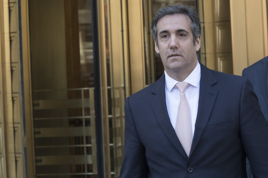 FILE - In this April 26, 2018 file photo, Michael Cohen, President Donald Trump's personal attorney, leaves federal court in New York. Cohen wants a federal judge to stop the lawyer for porn actress Stormy Daniels from speaking to reporters. An attorney for Cohen filed court papers Thursday night, June 14, 2018, alleging Daniels' lawyer Michael Avenatti is tainting the case. (AP Photo/Mary Altaffer, File)