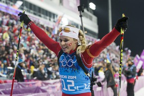 Irene Cadurisch of Switzerland reacts in the finish during the women's 4x6km biathlon relay at the XXII Winter Olympics 2014 Sochi in Krasnaya Polyana, Russia, on Friday, February 21, 2014. (KEYSTONE/Peter Klaunzer)