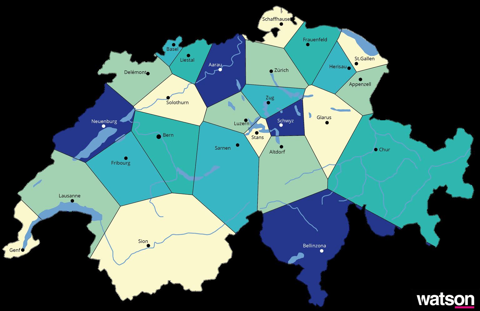 Freiburg Schweiz Karte.Die Karte Der Schweiz Die Kantonsgrenzen Nach Voronoi Watson