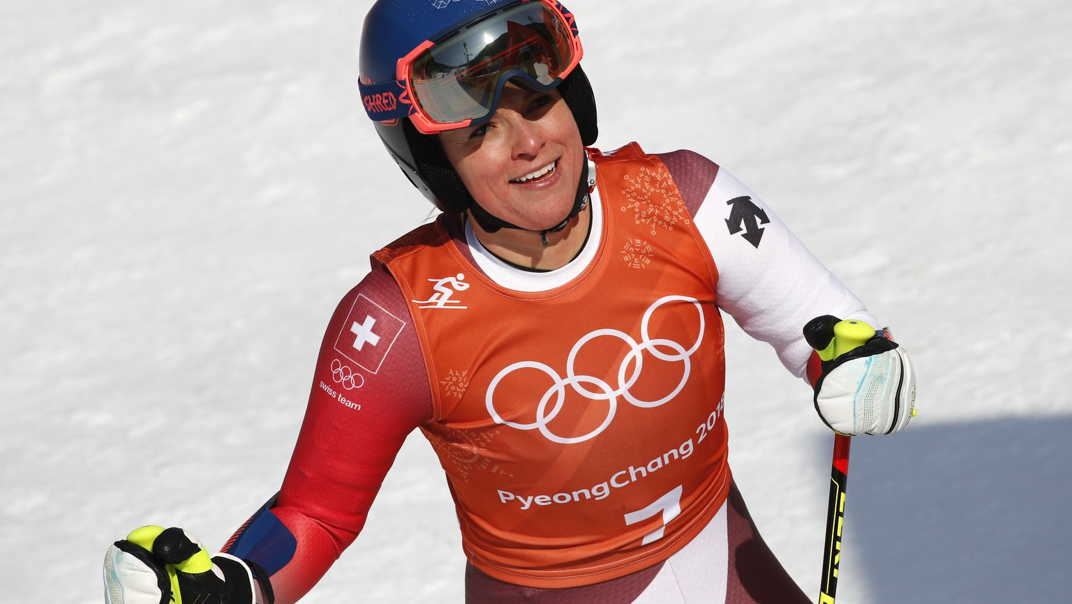 Switzerland's Lara Gut smiles after finishing women's downhill training at the 2018 Winter Olympics in Jeongseon, South Korea, Tuesday, Feb. 20, 2018. (AP Photo/Christophe Ena)