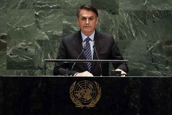 Brazil's President Jair Bolsonaro addresses the 74th session of the United Nations General Assembly, Tuesday, Sept. 24, 2019. (AP Photo/Richard Drew) Jair Messias Bolsonaro