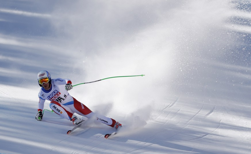 Mar 15, 2017; Aspen, CO, USA; Carlo Janka of Switzerland during the men's downhill alpine skiing race in the 2017 Audi FIS World Cup Finals at Aspen Mountain. Mandatory Credit: Jeff Swinger-USA TODAY Sports