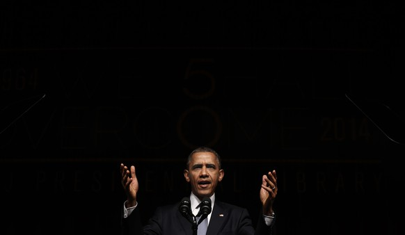 U.S. President Barack Obama speaks at a Civil Rights Summit to commemorate the 50th anniversary of the signing of the Civil Rights Act at the LBJ Presidential Library in Austin, Texas April 10, 2014. 