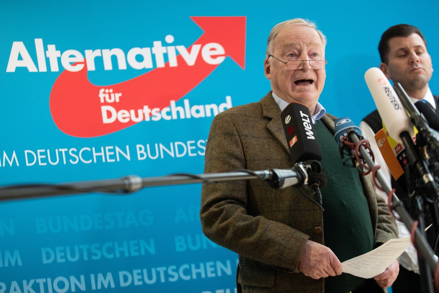 epa07269333 Co-leader of the Alternative for Germany party (AfD) Alexander Gauland speaks during a presser at the Jakob-Kaiser-Haus in Berlin, Germany, 08 January 2019. Frank Magnitz, leader of Alternative for Germany (AfD) in Bremen, was attacked by three people and severely injured in Bremen on Monday 07 January. Gauland criticizes the attack as politically motivated.  EPA/HAYOUNG JEON